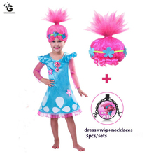 купить Girls Dress Trolls Poppy Cosplay Costumes Dress For Girls Bobo Choses Dresses Halloween Clothes Kids Dress Girl Wig Fancy Dress по цене 925.51 рублей