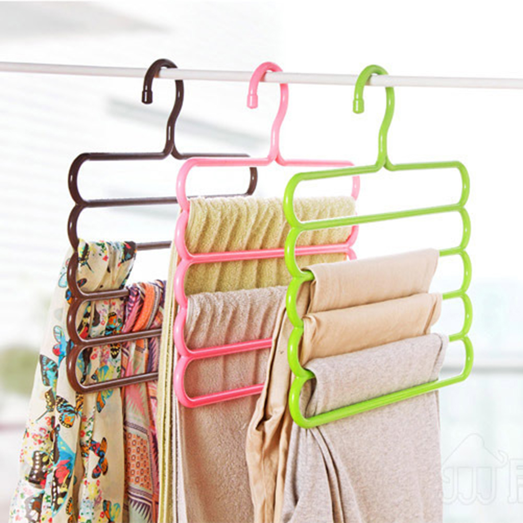 New Colorful 5 Layers Clothes Rack Holder Hook Pants Trousers Denim Jeans Scarf Coat Hanger