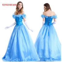 VEVEFHUANG Adult Cinderella Costumes Deluxe Blue A Line Cinderela Cosplay Shiny Gown Cinderella Dress Cosplay Costume