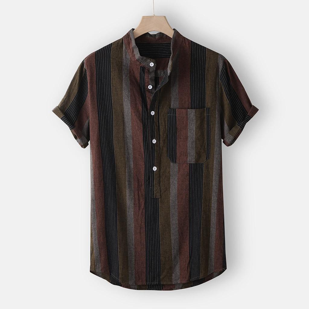 2020 Summer Men's Hawaiian Shirt Tops Fashion Strip Print Short Sleeve Stand Collar Linen Streetwear Shirt Men Top Chemise Homme