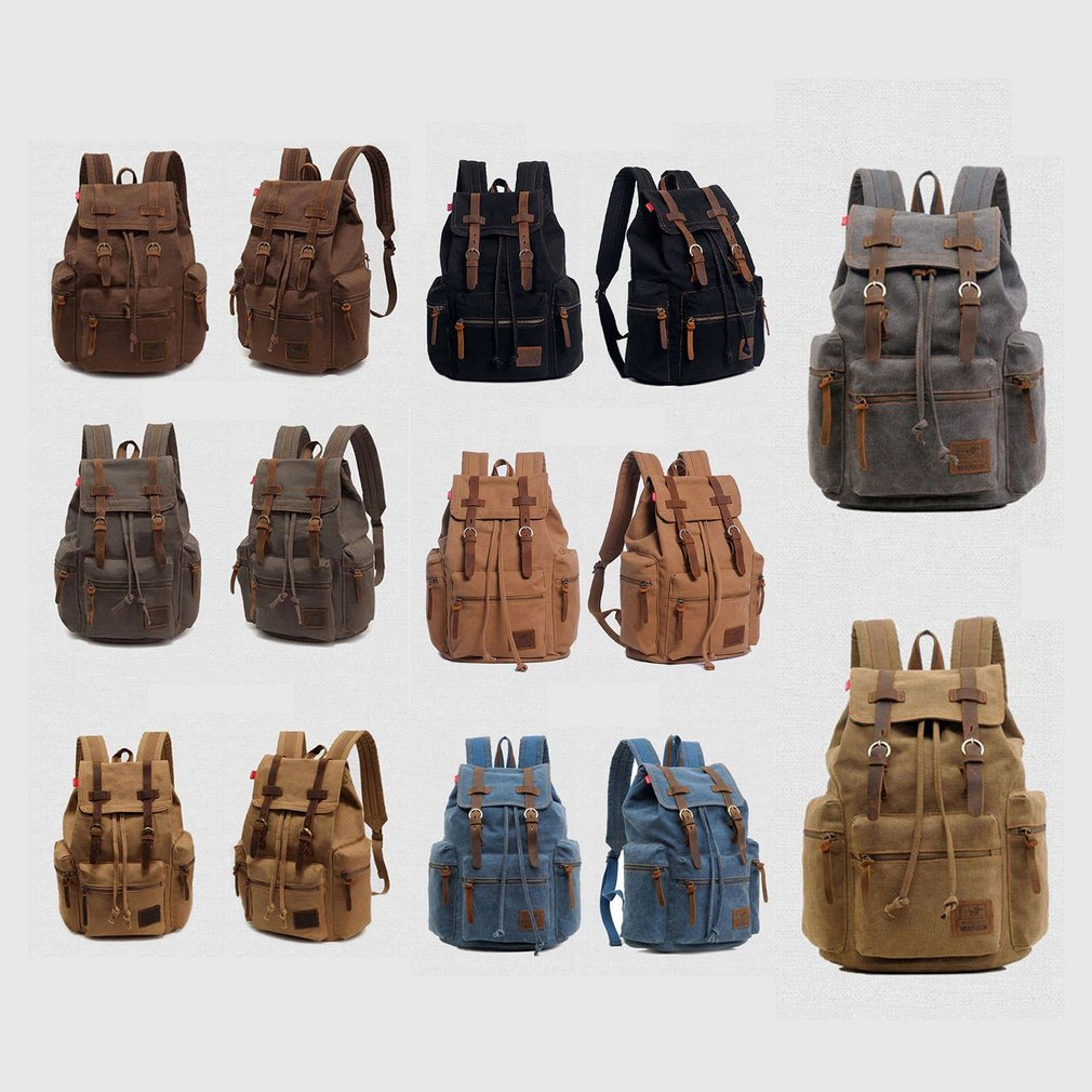 Canvas Outdoor Travel Backpack Rucksack Camping Hiking Laptop Book School Bag