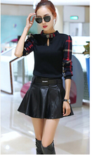 Basic shirt women's 2015 autumn and winter long-sleeve plaid patchwork slim pullover sweater top Fashion sexy T-shirt