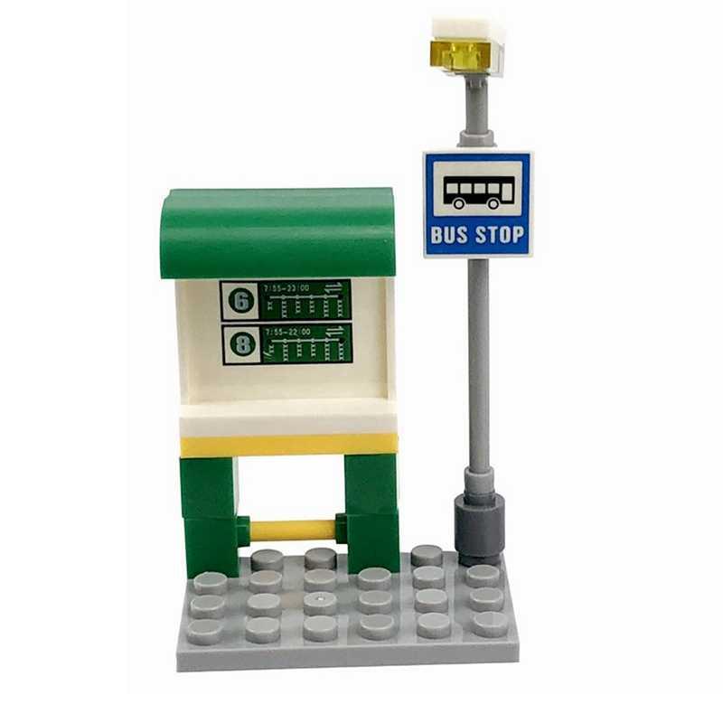 Legoing Blok Kota Creator Tanda Jalan Bus Station Buah Penjual Es Krim Blok Bangunan Mainan untuk Anak Merakit Blok Kota