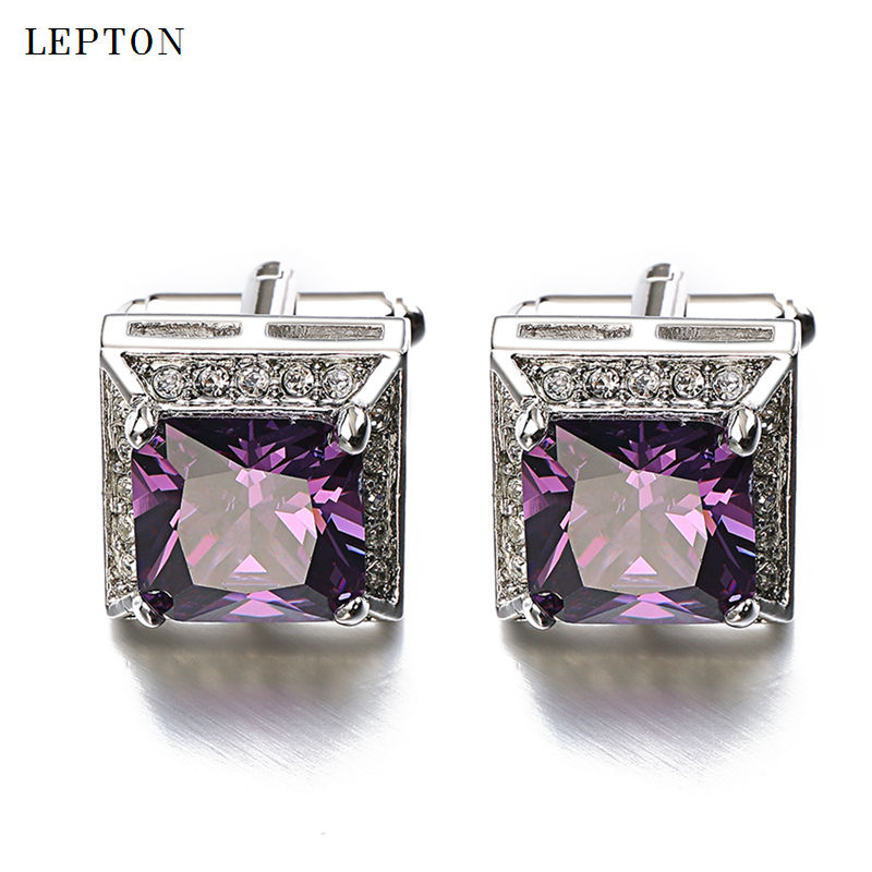 Hot Sales Purple AAA Zircon Cufflinks Luxury Brand High Quality Crystal Groom wedding cuff links for mens With Gift Box gemelos low key luxury tiger eye stone cufflinks for mens gold color plated lepton high quality brand round stone cuff links best gift