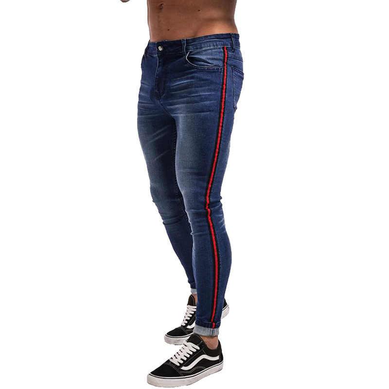 Męskie obcisłe dżinsy rurki 2019 Super bawełniane porwane jeansy męskie zepsute miedziane rozciągliwe spodnie dżinsowe w pasie duże rozmiary europejskie