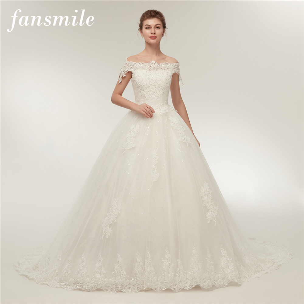 Fansmile Vestidos de Novia White Long Train Wedding Dresses 2019 Customized Plus Size Bridal Ball Gowns Free Shipping FSM-108T