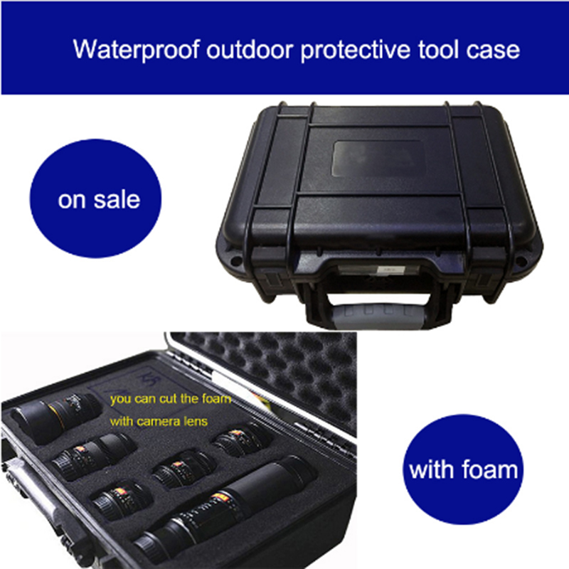 high quality protective tool case waterproof toolbox hard case 25x21x6CM security equipment camera box with pre cut foam lining