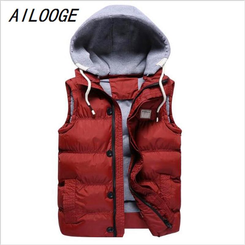 c4a02f3df AILOOGE 2017 New Winter Fashion New Casual Slim Cotton Vest Coat for Men  Male M-5XL