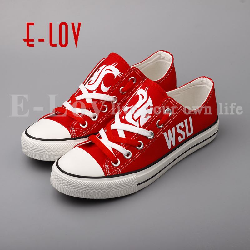 E-LOV Washington State Cougars Print Canvas Shoes Red WSU Low Top Lace Casual Shoes Big Size Wholesale Drop Shipping e lov women casual walking shoes graffiti aries horoscope canvas shoe low top flat oxford shoes for couples lovers
