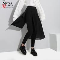 Nuevo 2018 de Corea Del Estilo de Diseño Especial Para Mujer vestidos Largos de Gasa Negro pantalones Con Extra de Capa Plisada Niñas Único Desgaste Pantalones Lápiz 3224