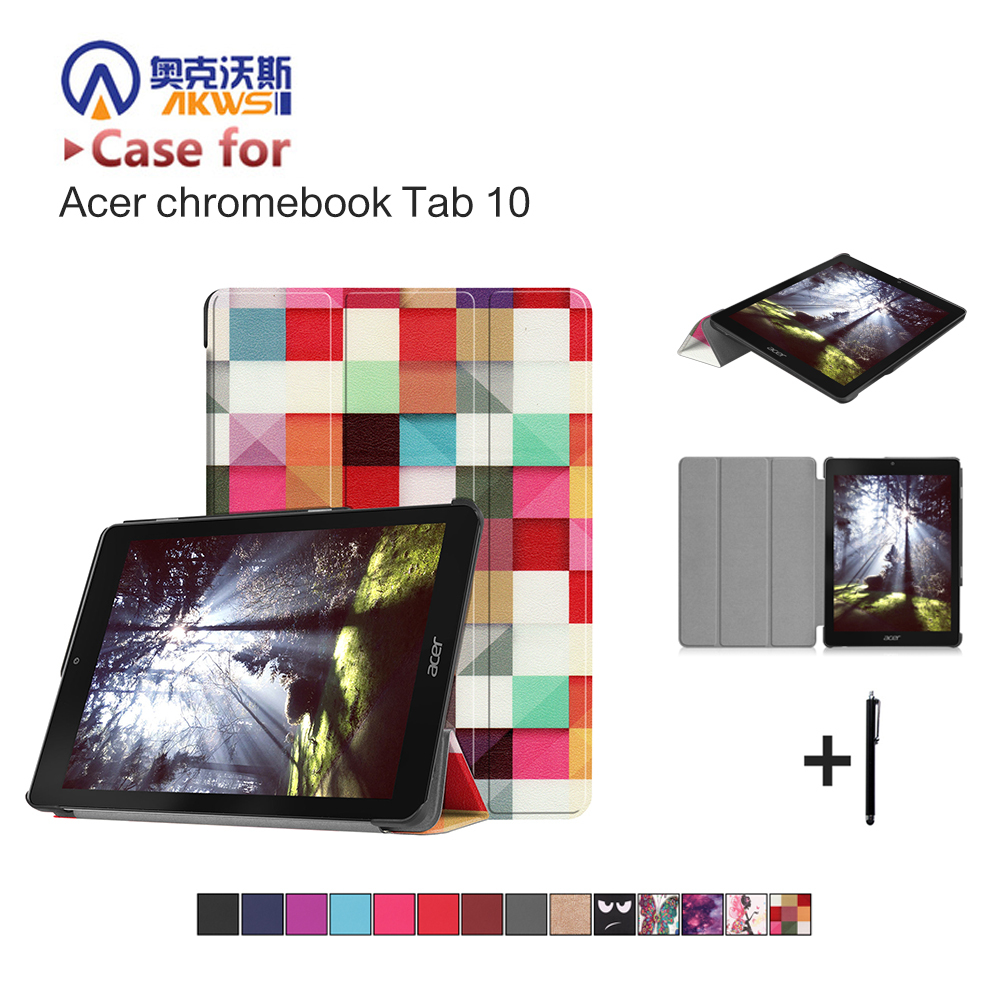 US $8 96 31% OFF|Slim Print Flip Case For Acer Chromebook Tab 10 9 7''  Stand PU Leather Magnet Smart Cover Case+gift-in Tablets & e-Books Case  from