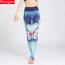 цены Maryigean New Chinese Style Sports Pants Professional Ink Printing Yoga Fitness Leggings High Waist Push Up Workout Leggings