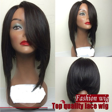 Fast Shipping heavy Density Straight Heat Resistant Hair Bob Wigs Side Part Glueless Wigs Synthetic Lace Front Wigs
