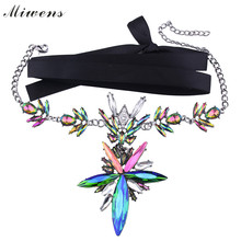 Miwens Fashion Luxury Crystal Collar Flower Pendant Chokers Necklace Bohemian Statement Maxi Jewelry Velvet Choker Necklace 7543