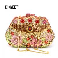 LaiSC Custom Gold Luxury Crystal Clutch Bag Handcraft Rhinestone Evening Bag Soiree Sac Pochette Femme Women