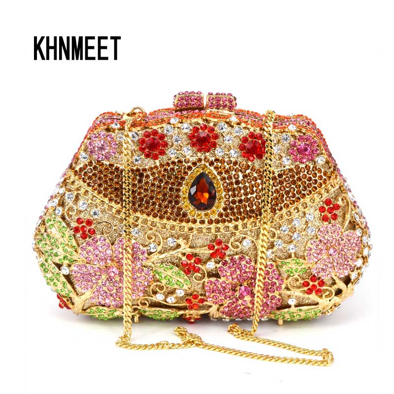 Golden Luxury crystal day clutches handcraft rhinestone evening bag soiree sac pochette femme women party purse Clutch Bag SC118 purse 3 set casual clutch day clutches letter bag luxury handbag women bag designer bolsas beach bag for women lady hand bag sac