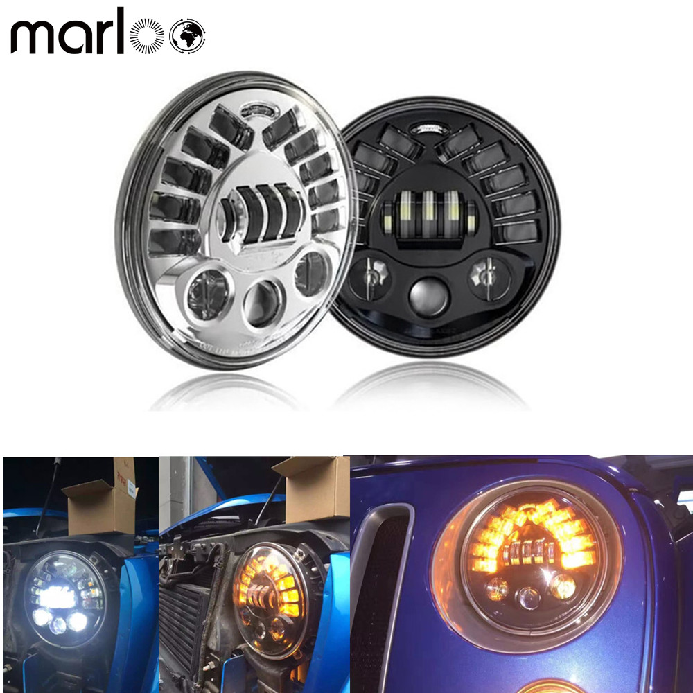 Marloo 2X 7inch LED Headlight Left Right Turn Signal DRL For Jeep Wrangler JK TJ Sahara Rubicon Freedom Dragon Edition Unlimited left hand a pillar 4 switch panel pod for jeep wrangler jk jku unlimited rubicon sahara off road sport interior accessories part