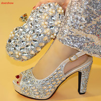 doershow Italian Matching Shoe and Bag Set silver Italian Shoes with Matching Bags High Quality Wedding Shoes and Bag !SXX1 4