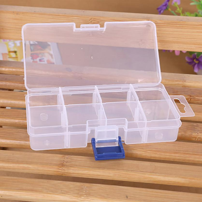8 Grids Compartments Plastic Transparent Organizer Jewel Bead Case Cover Container Storage Box for Jewelry Pill Wholesale 40p