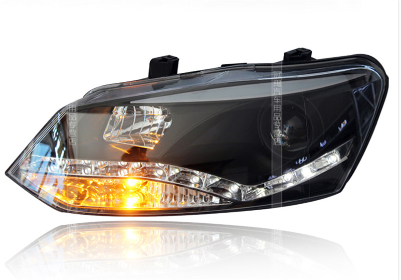 VLAND factory for Car head lamp for POLO LED Headlight 2011-UP head light H7 xenon lamps with led bar lamp plug and play design free shipping vland factory headlamp for volkswagen gol led headlight h7 xenon lamp with angel eyes led bar lamp plug and play