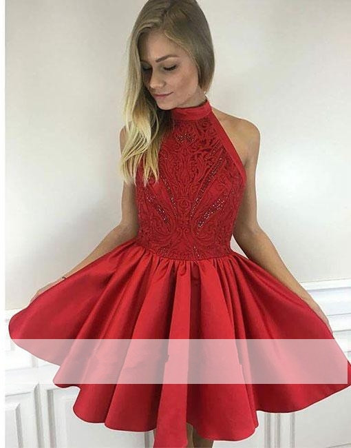 Red 2019 Elegant   Cocktail     Dresses   A-line Halter Short Mini Beaded Lace Backless Party Plus Size Homecoming   Dresses