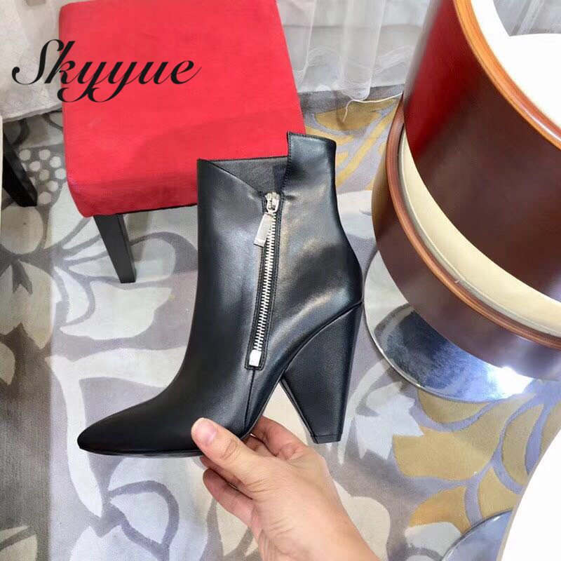 SKYYUE New Genuine Leather Vintage Style Women Ankle Boots Sexy Pointed Toe Zip Side Spike Heel Women Boots Shoes Women skyyue new genuine leather pointed toe women boots zip side thin high heel ankle boots shoes women
