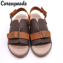 Careaymade-New flat bottomed comfortable beach sandals, women's arts and crafts, pure hand-made leather buckle women's shoes