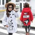 2016 зима новый девушки в большой детские тенденции моды Корейской вскользь мультфильм вышивка девушки шерстяные пальто