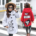 2016 nuevas muchachas del invierno en el gran tendencia de la moda Coreana de los niños de dibujos animados ocasional bordado abrigo de lana niñas