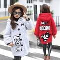 2016 winter new girls in the big children's fashion trend Korean casual cartoon embroidery girls woolen coat