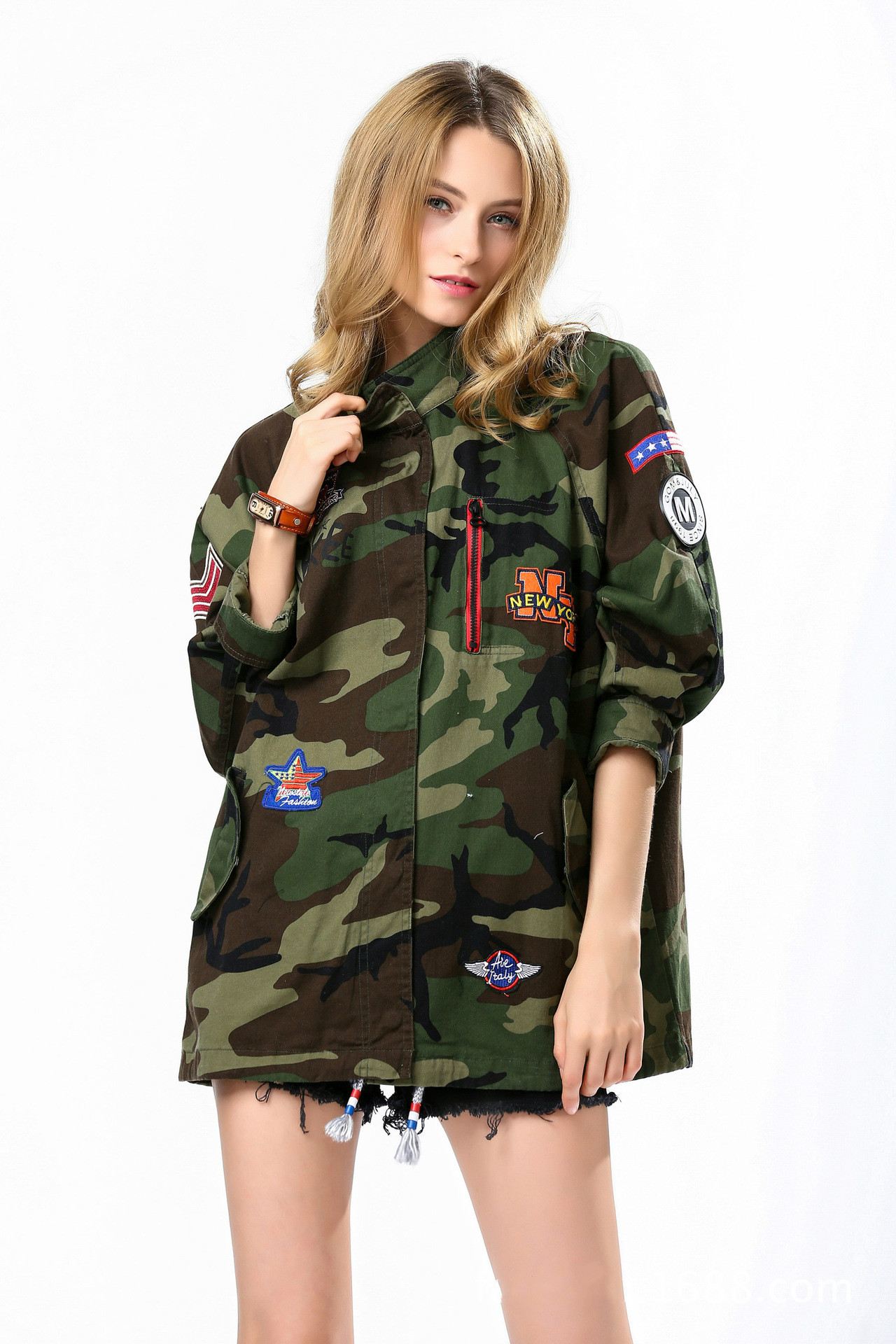 Camouflage military anorak embroidery jacket women fashion