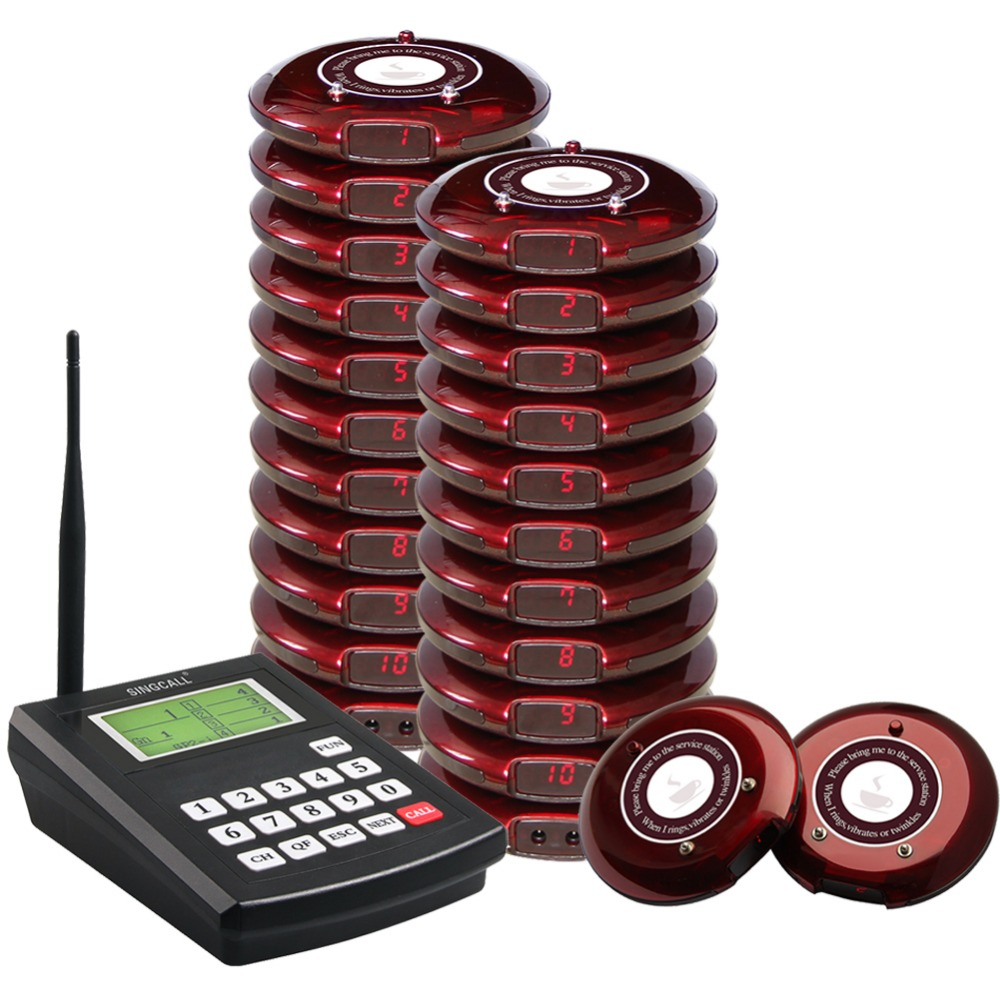 SINGCALL Coaster Paging System, Wireless Paging Queuing System, 1 pcs Transmitter and 20 Pagers for food restaurant call 2 receivers 60 buzzers wireless restaurant buzzer caller table call calling button waiter pager system