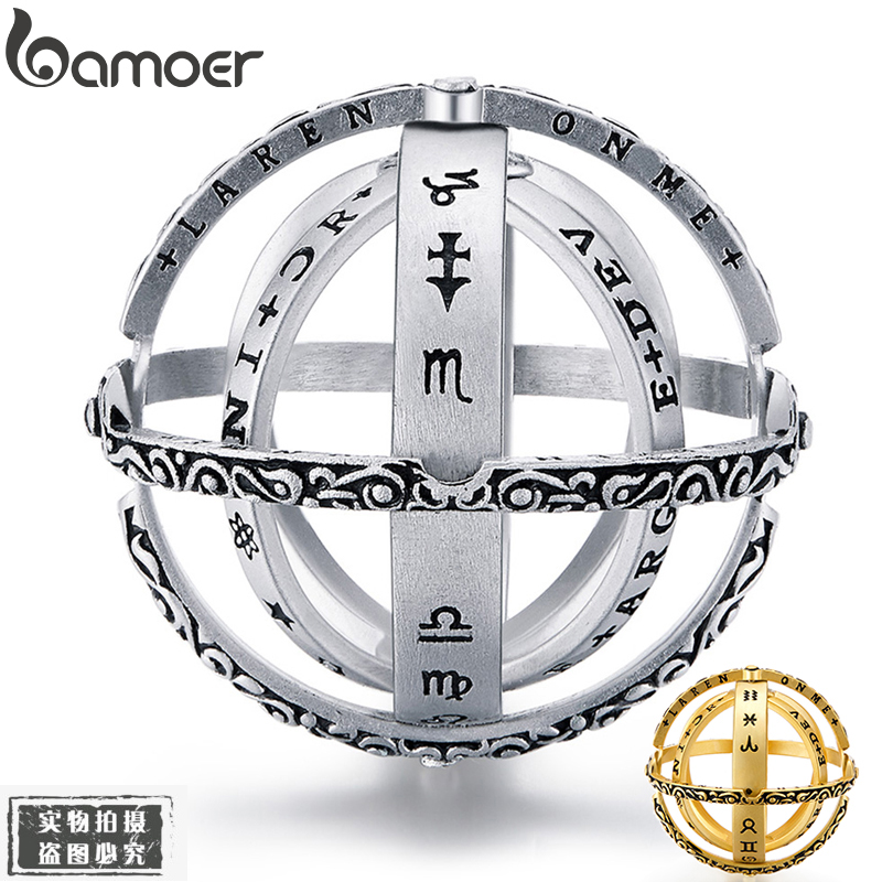 Two Colors Astronomical Ring Sphere Ball Ring Complex Rotating Cosmic Ring for Couple Lover Jewelry YIR230(China)