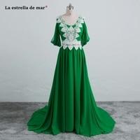 Abendkleider 2018 new sexy V neck chiffon Half sleeve a Line Emerald green Moroccan evening dress long cheap Muslim evening gown