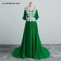 Robe de festa longo 2018 nouvelle dentelle mousseline de soie ALine émeraude vert abiye elbise pas cher caftan marocain abendkleid robe de bal jolie
