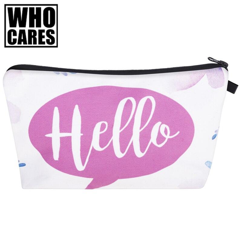Hello Flowers 3D Print Women Cosmetics Bags trousse de toilette 2017 New neceser Organizer Maleta de Maquiagem vanity Makeup Bag