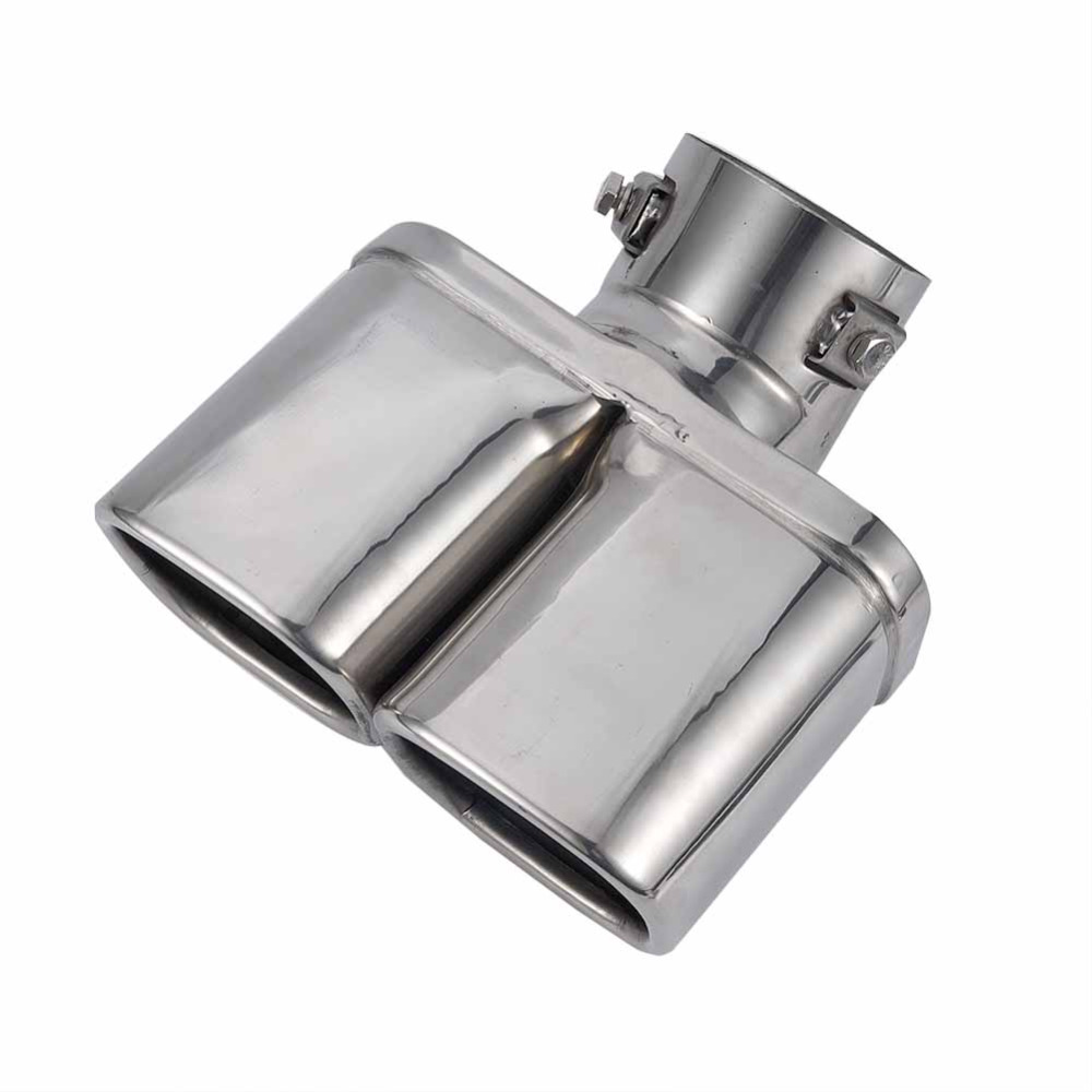 Exhaust Pipe Dual Muffler Tip Stainless Steel Car Pipes Car Styling Silver Tail Mufflers