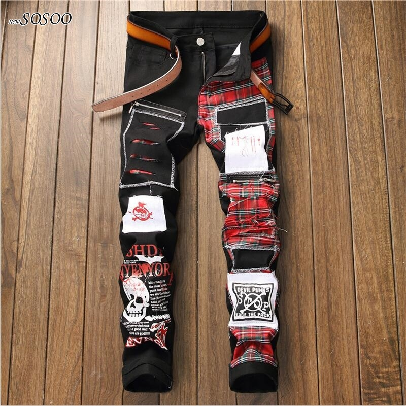 Locomotive   jeans   for men knees holes skeleton letter printing fear of god trousers cool European and American style #5501