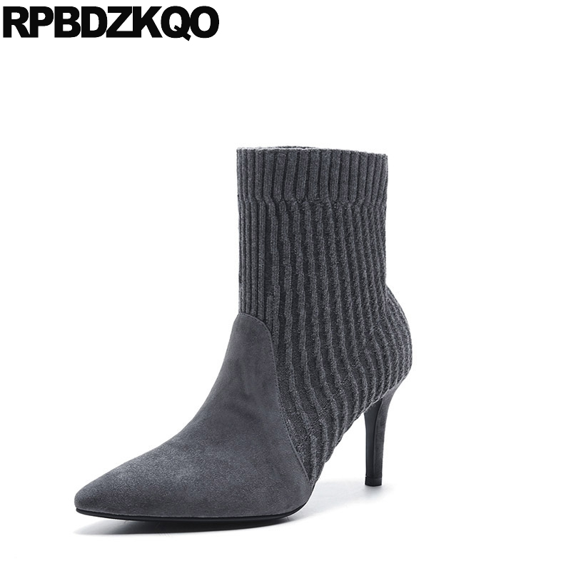 Stretch Sock Shoes Stiletto Knit Fall Designer Women Luxury 2017 Pointed Toe Thin Ankle Gray Slip On Suede New Female Chinese