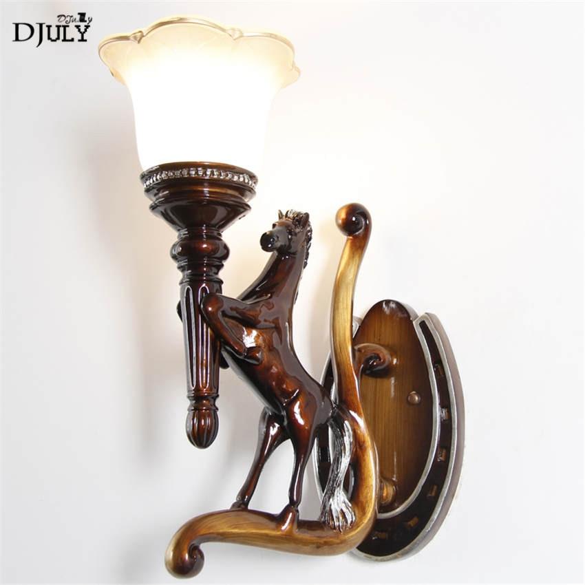 art deco retro horse resin wall lamp for corridor stairs European bedroom lamp living room decoration led wall sconces light e27