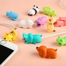 Cable bites Glow In Dark Protector for IPhone Winder Phone Prank Toy Pvc Animal dog cat rabbit Doll model Funny(China)