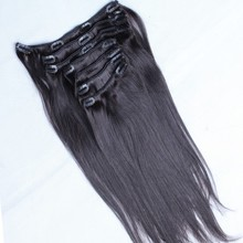 Brazilian Straight Clip In Human Hair Extensions 100% Human Hair Remy Clip Ins Full Head Natural Black Color Rosa Queen Remy