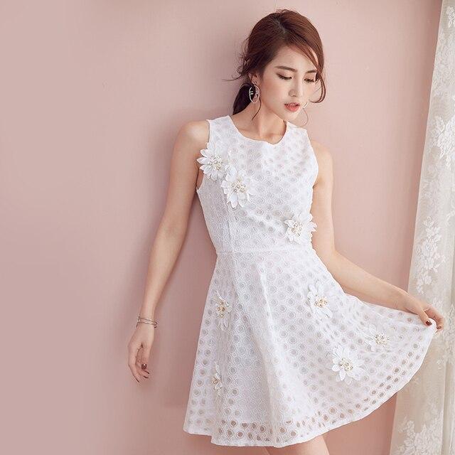 b4c461a9b8a women clothing 2017 spring summer style korean vestidos white sleeveless  stereoscopic flower cute sweet party dress female A3675