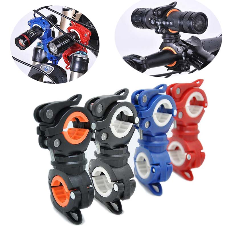 Multifunction Bike Bicycle Flashlight Holder 360 Degree Rotation Torch Mount LED Head Front Light Holder Clip for MTB Road Bike(China)