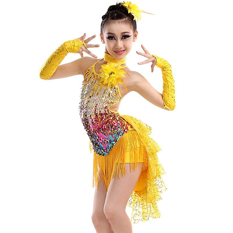 Kid Sequin Fringe Latin Dress Dance Gold Latin Competition Costumes for Girls Salsa Dresses With Tassels Samba Children Ballroom