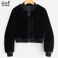 Dotfashion Ribbed Trim Zip Up Fuzzy Woman Jacket And Coat 2017 Autumn Black Stand Collar Top Long Sleeeve Casual Short Jacket
