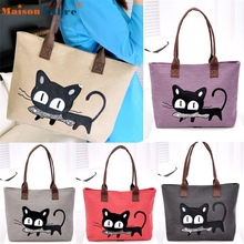 High quality New Fashion Women Shoulder Bag Canvas Bag Cute Cat Bag Office Lunch Bag