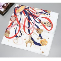 Belts Prints 100% Twill Silk Scarf Hijab Head Scarves High Quality Hand Rolled Edges 35 X 35