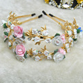 2015 Fashion DG vintage baroque China flower gem hair bands women crystal cutout queen royal headband luxury hair accessory F115