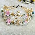2015 moda DG barroco vendimia China flor gema cintas para el pelo mujeres crystal reina recorte diadema real de lujo del pelo accesorio F115